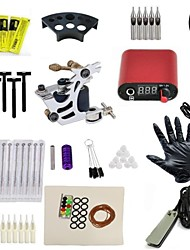 Complete Tattoo Kit Custom Machine Black Ink Power Pedal Needles Grip