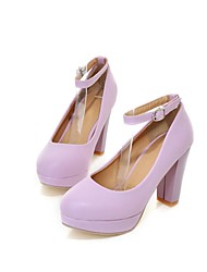 Women's Spring Summer Fall Leatherette Casual Chunky Heel Black Blue Pink Purple White