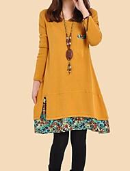 Maternity Fashion Round Collar Stitching Saika Hem Long Sleeve Dress