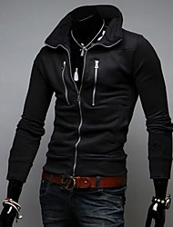 Zian® Men's Stand Collar Fashion Multiple Zipper Decoration Slim Fleece Casual Cardigan Hoodie O