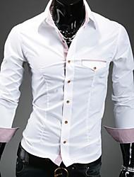 cuello solapa camisa vaina de color de contraste de  hombres