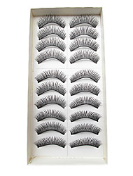 10Pairs Natural Looking Handmade European Dark Crossed Thicker High-grade Chemical Fiber False Eyelashes