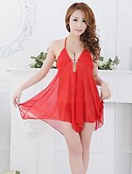 INONE Damenbabydoll Sexy Lingerie Anzug Rot mit G-String