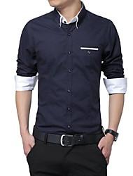 Men's  Stand Collar  Basic  Long Sleeve  Shirt  1306