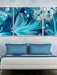 The Decorative Pattern of Blue Framed Canvas Print Set of  3