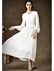 Women's Solid Pink/Beige Dress , Casual/Party/Plus Sizes/Maxi V Neck Long Sleeve