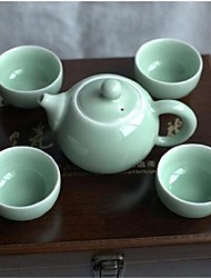 LvShu® LongQuan Celadon 5-Piece 1pc Teapot/4pcs Tea Cups Plum Green