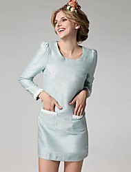 Women's Formal Shift Dress,Solid Round Neck Above Knee Long Sleeve Blue Cotton Spring