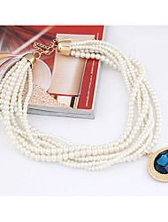MIKI Gemstone Pearl Stack Necklace