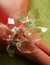 Leaf  Branch  Beads Flower In Multi Color Napkin Ring,Acrylic Beades, 3.5CM, Set of 12,