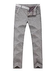 Herren Chinos-Einfarbig Freizeit Baumwollmischung Blau / Grau