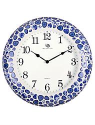 "18.4 ""H Chinese Style Bleu et Blanc Porcelaine Motif Horloge murale"