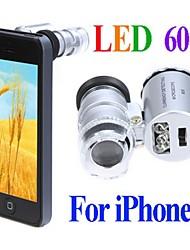 Microscópio Mini 60X com 2-LED Illumination moeda detecção de luz UV para iPhone 5/5S (3 * LR1130)