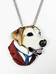 Dog Pattern Wood Necklace