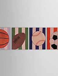 Hand Painted Oil Painting Abstract  Sprots Balls with Stretched Frame Set of 4