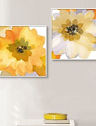 Ink Painting Effect Flowers Framed Canvas Print Set of  2