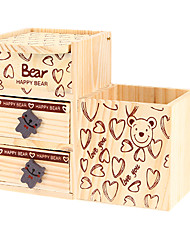 Bear House Pattern Wooden Storage Music Box Toys