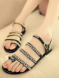 Frauen Flache Heel Sandaletten Zehenring mit Kette Schuhe