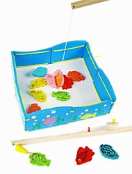 Children's Intelligence Magnetic Wooden Fishing Pond Model of Toys
