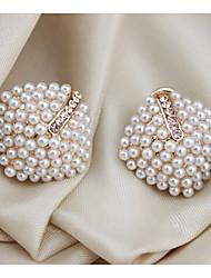 MIKI Elegant Pearl Diamante Rhombus Ear Stud