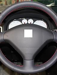 Натуральная кожа Xuji ™ Черный Руль Обложка для Peugeot 307