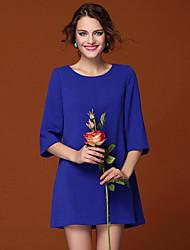 Z & W Frauen Runde Soild Farbe 3/4 Ärmel Kleid