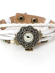 wagen u Frauen Vintage-Lederarmband Uhr Herzmuster