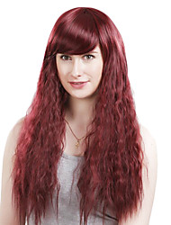 Capless Long High Quality Synthetic Nature Look Dark red Curly Hair Wig