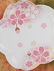 "Country Style Sakura Modello Piatto, Porcellana 7 ""x7"" x1 """
