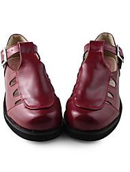 Handmade Wine Red PU-Leder 4cm Wedge Klassische Lolita Schuhe