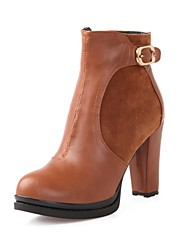 Faux Leather Women's  Chunky Heel Fashion Ankle Boots (More Colors)