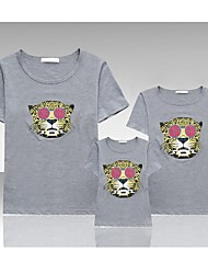 Family's Casual O Neck Tiger Head Print Short Sleeve T-shirt(Picture Color Random)