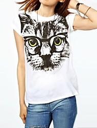 T-Shirt - Vintage/Casual/A fantasia/Romantico - Manica corta - Sottile DI Cotone