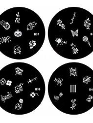 1pcs nail art stempel stempelen beeld sjabloon plaat B-serie no.37-40 (assorti patroon)