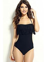 preto sólido um pedaço swimwear, borla cabeçada das mulheres