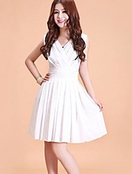 Women's Solid White/Black Dress , Bodycon V Neck Sleeveless