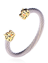 U7® Cool Leopard Head Cuff Bangles 18K Gold Plated 316L Stainless Steel Bracelets Quality Fashion Jewelry