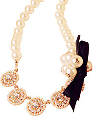 Meet You Bowknot Shaped Pearl Necklace With Austrian Rhinestone