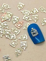 Forma gaiola 200pcs pássaro fatia do metal nail art decoração