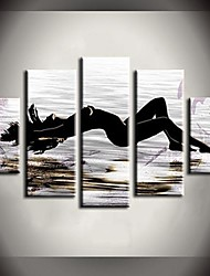Hand Painted Oil Painting Sun Beach Beauty Abstract Paintings with Stretched Frame Set of 5