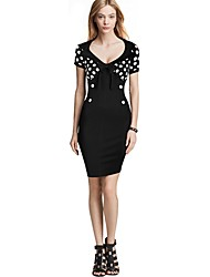 Womens Ladies Polka Dot V-neck Summer Party Bodycon Mini Tea Dress