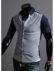 Tizeland Men's Lapel Neck Contrast Color Short Sleeve Shirt