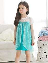 Girl's Solid Dress,Cotton / Lace / Mesh Summer / Spring / Fall Blue