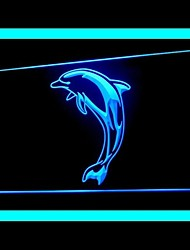 Dolphin Jump Water Green Blue Red White Orange Purple Yellow Advertising LED Light Sign