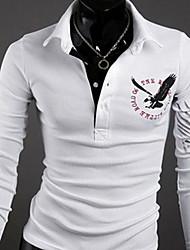 QCH Men'S Eagle Print Lapel Collar Long Sleeve Shirts(White)