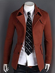 Men's Long Sleeve Regular Coat , Cotton/Polyester/Wool Blend Pure