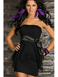 Sweet Women's Strapless Solid Color Chalaza Dress