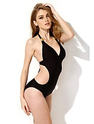 Women's Black One-pieces,Solid Halter