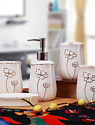 Bath Ensemble,5 Piece Purple Ceramic Lotus,Bathroom Accessories Set
