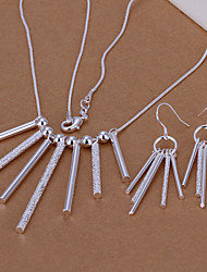 Šperky 1 x náhrdelník 1 x pár náušnic Párty Denní Zirkon Měď Postříbřené 1Nastavte Dámské Stříbrná Svatební dary